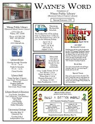 Newsletter In Word Waynes Word Newsletter Wayne Public Library