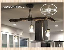 driftwood lighting. Driftwood Lighting: 3ft Log, (3) Mason Jar LED Pendants W/Stainless Steel Lids, Silver Vintage Cord And Cast Metal Canopy Lighting