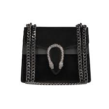 Designer Black Suede Clutch Bag Italian Cross Body Chain Bag Designer Evening Purse