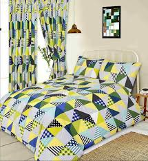 double bed duvet cover set geometric patchwork lime green white blue polka dot