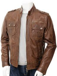 mens brown leather jacket benton open