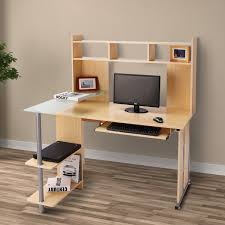 home office technology. HOMCOM Computer Desk Workstation Executive Table Hutch Home Office Furniture, Maple Technology