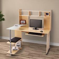 homcom computer desk workstation executive table hutch home office furniture maple