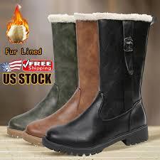 Womens <b>Winter Warm</b> Fur-lined Mid Calf <b>Snow Boots</b> Ladies <b>PU</b> ...