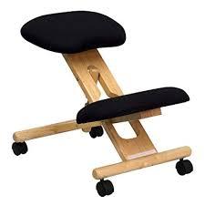 ergonomic chair kneeling. Plain Ergonomic Flash Furniture Mobile Wooden Ergonomic Kneeling Chair In Black Fabric On