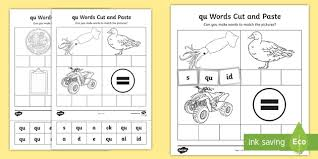 Color the pictures that begin with the letters qu. Qu Cut And Stick Worksheet Teacher Made