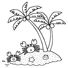 カニとヤシの木白黒海の生き物の無料イラスト夏の季節素材