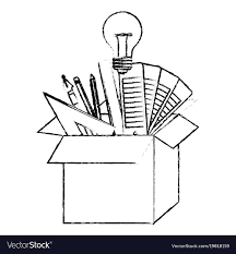 Cardboard box with graph design tools idea in vector image