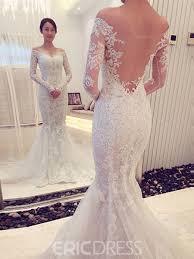 ericdress mesh mermaid lace long sleeves off shoulder wedding