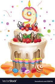 Happy Birthday Cake 9 Royalty Free Vector Image