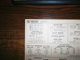 1962 Mercury Monterey 352 Ci V8 Sun Electric Tune Up Chart