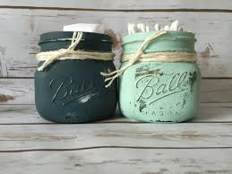 Rustic mason jars, *FREE SHIPPING*Q-tips & Cotton Ball Storage, Perfect for  bathroom decor or Kitchens! 16oz wide mason jars! Chalk painted
