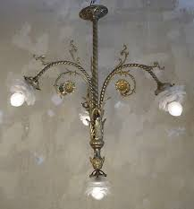 fine french antique art nouveau chandelier light brass satined glass bronze old