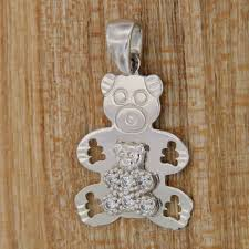 details about pendant teddy bear white gold 18 kt 750 charm teddy bear pendant for necklace
