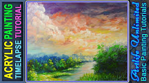 acrylic landscape painting with river during sunrise acrylic painting tutorial for beginners