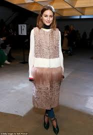 diffe olivia palermo modeled a sleeveless fur coat that had at least three diffe textures
