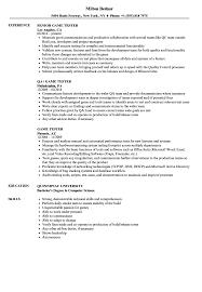 Tester Resume Samples Game Tester Resume Samples Velvet Jobs