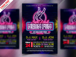 Photoshop Design Flyer Neon Night Party Flyer Design Psd By Psd Freebies On Dribbble
