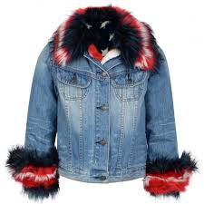 guess girls denim jacket with blue white and red faux fur t