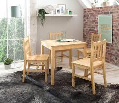 Esszimmer Set 5 Teilig Kiefer Holz Landhaus Stil 70 X 73 X 70 Cm Natur Essgruppe 1 Tisch 4 Stühle Esstischset Tischgruppe 4 Personen