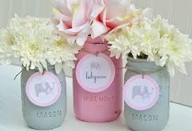Decorating Mason Jars For Baby Shower Baby Shower Decorations Baby Shower Decor Pink and Grey 7