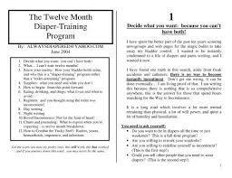 The Twelve Month Diaper Training Program Deekers Diaper Page