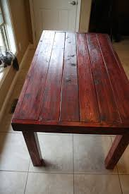 beautiful dark red oak stained primitive kitchen table custom made sizes to order diffe colors upon request matching benches available via etsy