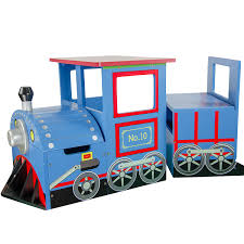 com teamson kids little kids blue train writing desk on wheels and storage bench set toys