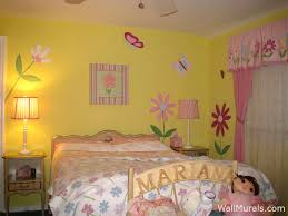 Girls Room Mural with Flowers - Butterflies