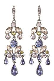image of givenchy multi color crystal large chandelier earrings
