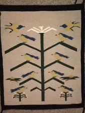 Traditional navajo rugs Turquoise Vintage Southwestern Native American Navajo Rug Blue Birds Tree Of Life 32x25 Dering Hall Navajo Rugs Textiles 1935now Ebay