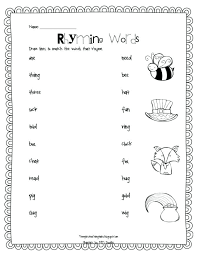 Medium To Large Size Of Cut And Paste Rhyming Worksheets Free For ...