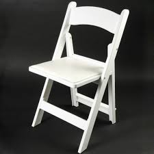 white resin folding chair with padding