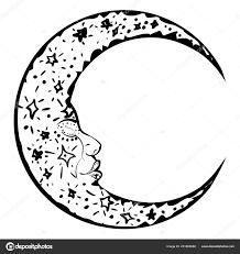 спящая луна тату векторное изображение Artshock 251865688