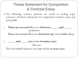 topic sentence examples for compare and contrast essay comparison contrast essay ppt download
