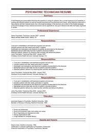 Sample Psychiatric Technician Resume