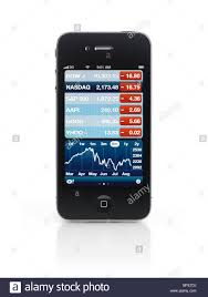 Apple Iphone 4 Smartphone With Stock Market Charts On Its