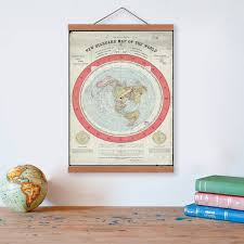 1892 flat earth map wooden framed canvas painting home decor wall art print pictures poster hanger