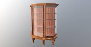 vintage wooden display case 3d model low poly max obj mtl fbx ma mb 2