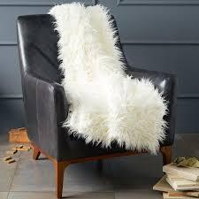 chair throws. faux fur mongolian lamb wool ivory throw chair throws