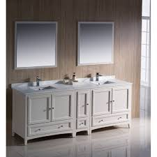 fresca oxford 84 inch antique white traditional double sink bathroom vanity with side cabinet
