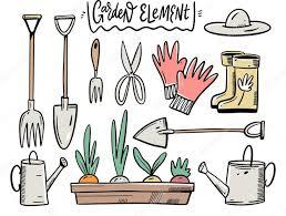 premium vector set garden tools and