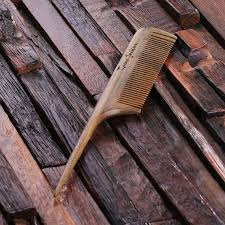 personalized natural wood comb