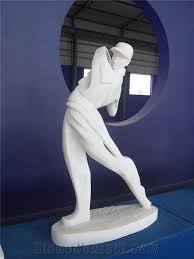 guangxi white marble abstract golfer
