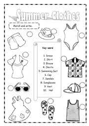 We have collected 40+ summer clothes coloring page images of various designs for you to color. Summer Clothes Esl Worksheet By Saifonduan
