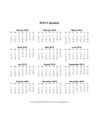 one page calender printable 2019 calendar on one page vertical