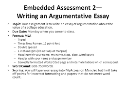 embedded assessment writing an argumentative essay ppt video embedded assessment 2 writing an argumentative essay