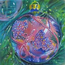 beaded glass ornament oil painting by linda mccoy by linda mccoy