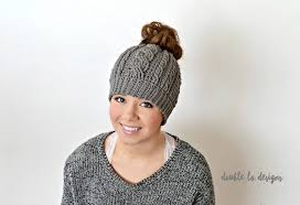 Free Crochet Pattern For Messy Bun Hat Beauteous Free Crochet Pattern Crochet Cabled Messy Bun Hat Adult Sizes