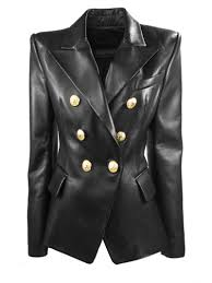 balmain black leather blazer nero